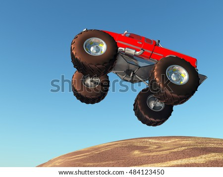 Flying monster truck against a blue sky Computer generated 3D illustration