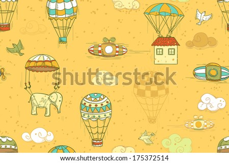 flying objects set with hot air balloons, parachute, airships, clouds, birds, house. Seamless pattern, endless background - stock photo