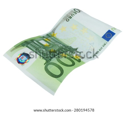 flying one banknote 100 euro isolated on white