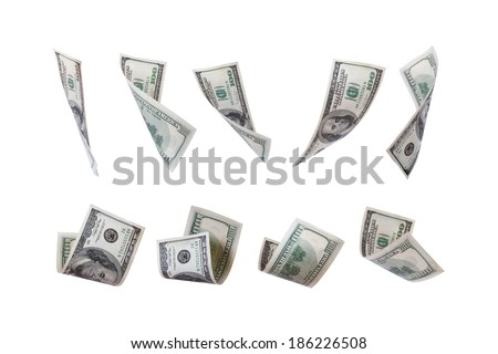 Flying one hundred dollar money banknotes, isolated on white background.
