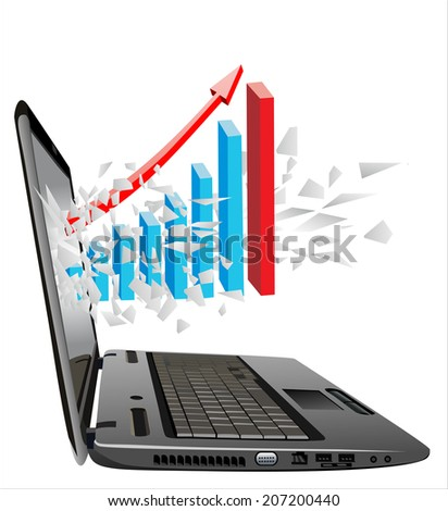 flying out of a broken laptop computer screen-Business charts isolated on white background