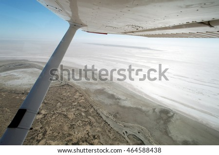 Flying Over Lake Eyre South Australia when empty on a beautiful clear day
