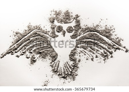 Flying Owl made of ash - stock photo