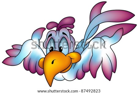 Flying Parrot - colored cartoon illustration - stock photo