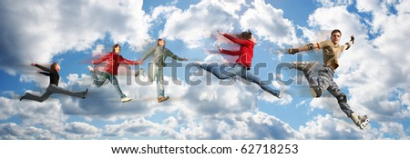 flying people on sky cloud panorama collage - stock photo