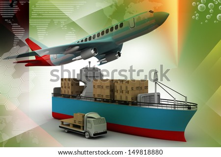 flying plane, a truck, and a cargo container - stock photo