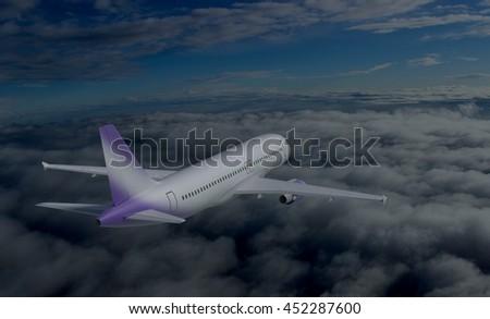 flying plane in the sky 3d illustration - stock photo