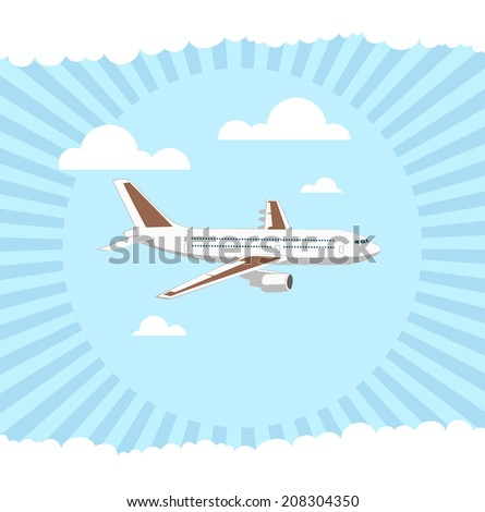 flying plane on sky background