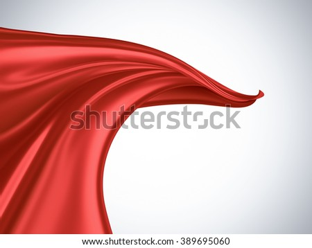 flying red silk fabric on a light background - stock photo