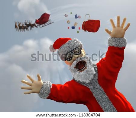 flying Santa Claus - stock photo