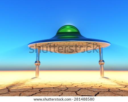 flying saucer landing in the desert - stock photo
