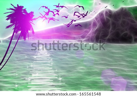 Flying seagulls over the sea - stock photo