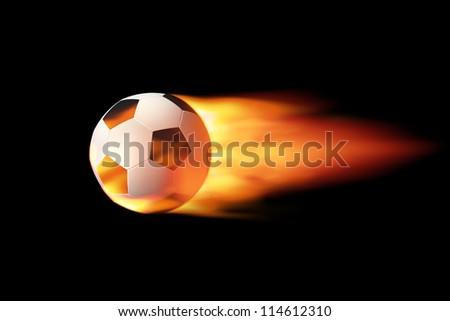 Flying soccer ball on fire - stock photo