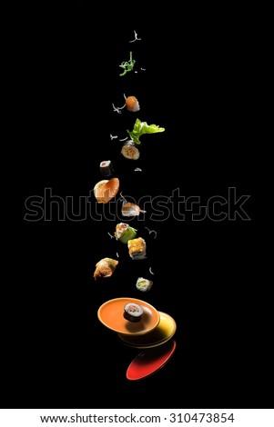 flying sushi - stock photo
