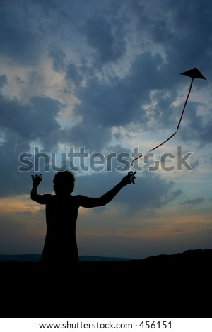 flying the kite - stock photo