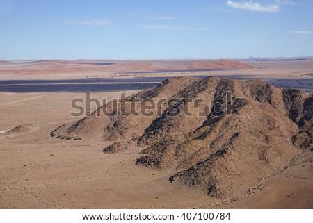 Flying to Sossusvlei, Namibia, Africa - stock photo
