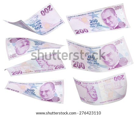 Flying 200 Turkis Liras on white background  - stock photo