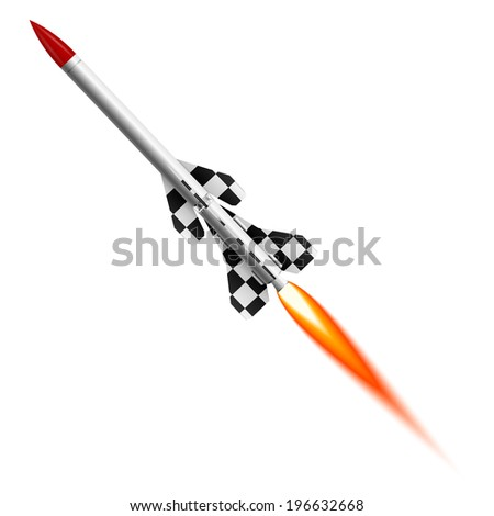 Flying two-stage rocket - stock photo