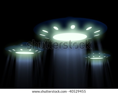 flying UFO. 3D - stock photo