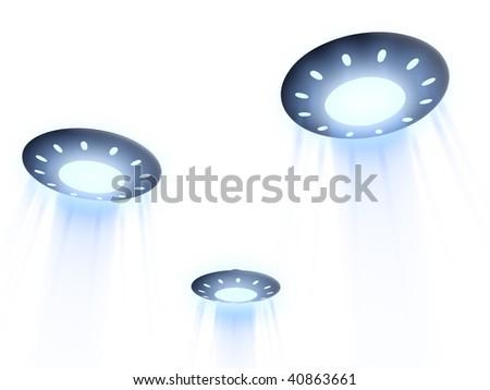 flying UFO. 3D - stock photo