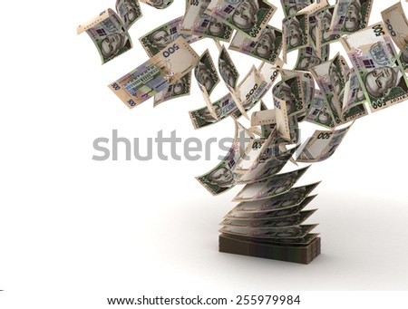 Flying Ukrainian Hryvnia (isolated with clipping path) - stock photo