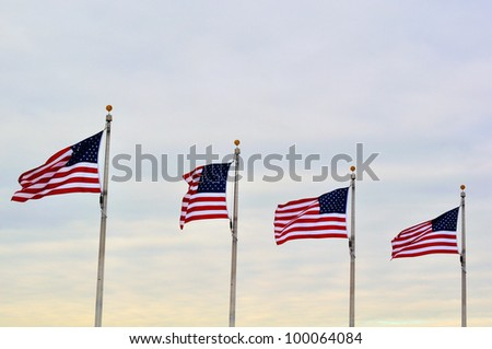 Flying US flags