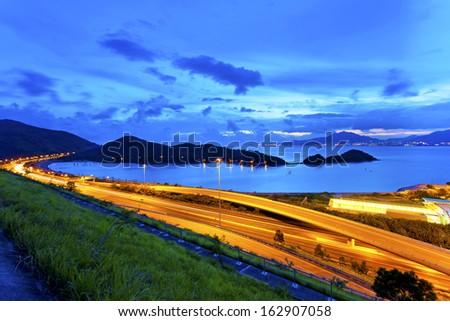 Flyover highway in Hong Kong at night - stock photo