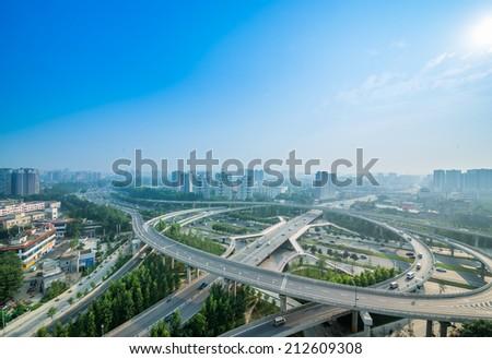 flyover in Chengdu, China - stock photo