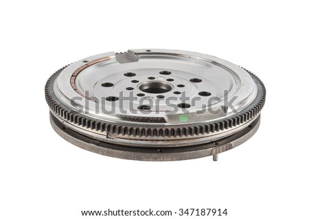 flywheel damper for automotive diesel engine on a white background. car parts - stock photo