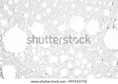 Foam bubble from soap or shampoo washing on top view