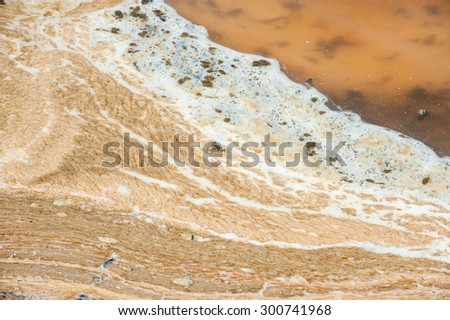 Foam bubbles from dirty water,background pattern. - stock photo