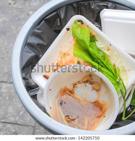 Foam food container trash bag