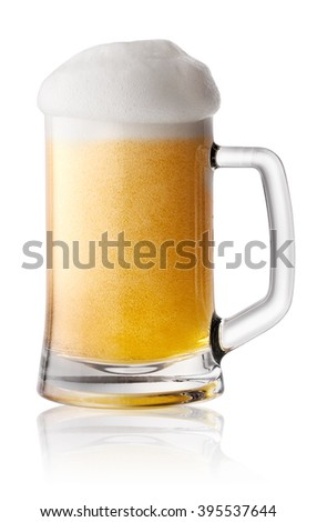 Foam fresh beer in mug isolated on white background