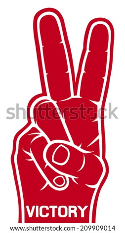 foam hand - victory symbol (victory foam hand gesture) - stock photo