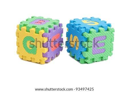Foam letter cubes isolated on white - stock photo