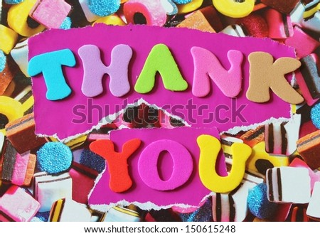 Foam letters thank you card - stock photo