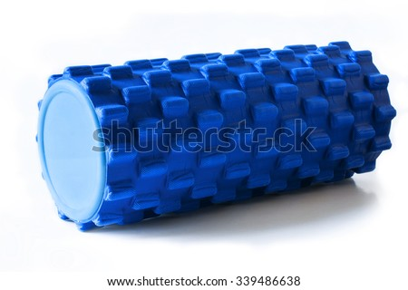 Foam Roller Gym Fitness Equipment Blue Isolated on White Background for masage - stock photo