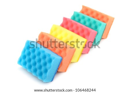 foam sponge for cleaning the house - stock photo
