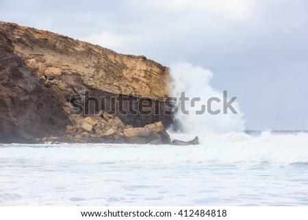 foamy waves, the sky - stock photo