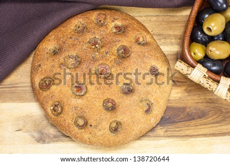 Focaccia with olives - stock photo