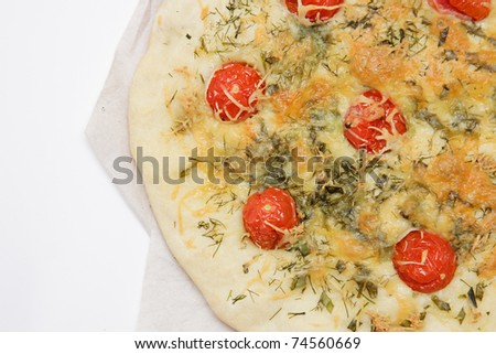 Focaccia with tomato and cheese - stock photo