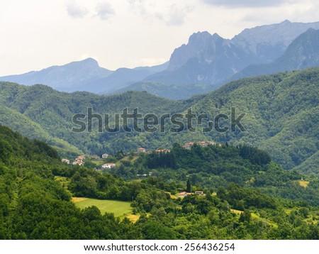 Foce Carpinelli, mountaIn landscape between Lunigiana and Garfagnana (Tuscany, Italy) at summer - stock photo
