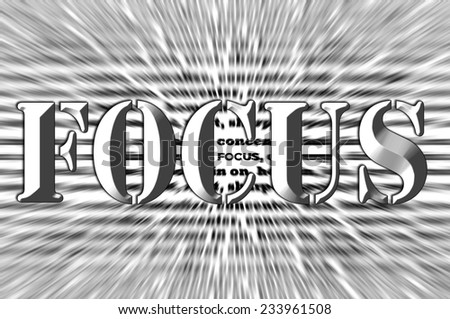 Focus - Chisel effect  white concept abstract - stock photo