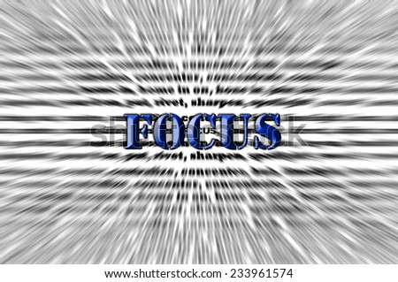 Focus - Chisel text effect blue abstract concept - stock photo