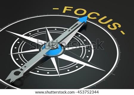 Focus compass concept, 3D rendering - stock photo