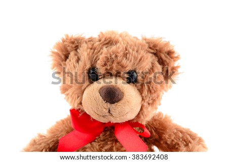 Focus eye, Brown teddy bear isolated on white - stock photo