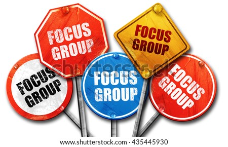 focus group, 3D rendering, street signs - stock photo