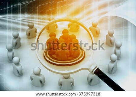 Focus Group. People with Magnifying glass on digital background - stock photo