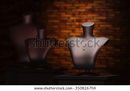 Focus light mannequin jewelry in the background 3d rendering. - stock photo