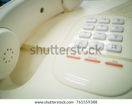 Focus number button on analog telephone in retro theme
